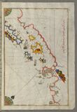 Illuminated Manuscript, Map of the Adriatic coastline from Dubrovnik north from Book on Navigation, Walters Art Museum Ms.W.658, f Stock Images