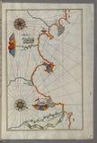 Illuminated Manuscript, Map of the Algerian coast around Ora from Melilla (Malīlah) and northwest of Tlemcen (Tili Royalty Free Stock Photos