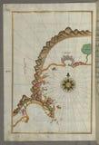 Illuminated Manuscript, Map of the Anatolian coast from Alanya (ʿAlāʾiye Alaiye) to Andalye (Antalya, formerly k stock images