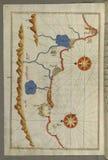 Illuminated Manuscript, Map of the Anatolian coast from Alanya (ʿAlāʾiye Alaiye) to Andalye (Antalya, formerly k royalty free stock image