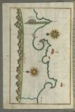 Illuminated Manuscript, Map of the Anatolian coast with the city of Silifke from Book on Navigation, Walters Art Museum Ms. W.658, Royalty Free Stock Photo