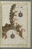 Illuminated Manuscript, Map of the Anatolian coast east of Finike from Book on Navigation, Walters Art Museum Ms. W.658, fol.336b Stock Images