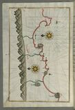 Illuminated Manuscript, Map of the Anatolian coast from Silfke to Anamur from Book on Navigation, Walters Art Museum Ms. W.658, fo royalty free stock images