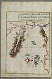 Illuminated Manuscript Map of the area west of the island of Thasos (Taşöz) and the Ayion Oros Peninsula, from Book on Royalty Free Stock Images