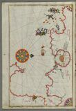 Illuminated Manuscript, Map of The Bay of Corinth from Book on Navigation, Walters Art Museum Ms. W.658, fol.137a Stock Image