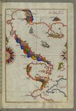 Illuminated Manuscript Map of the Bay of Salonica (Selānīk,Thessalonici) and the western coastline, from Book on Navig Royalty Free Stock Photo