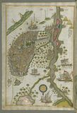 Illuminated Manuscript Map of Cairo, from Book on Navigation, Walters Ms. W.658, fol. 305b Royalty Free Stock Photography