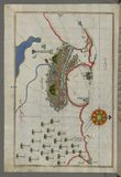 Illuminated Manuscript, Map of the city of Alexandria (Iskandarīyah) (Egypt) from Book on Navigation, Walters Royalty Free Stock Images