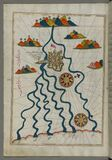 Illuminated Manuscript, Map of the city of Ferrara with the six rivers flowing into the Gulf of Venice from Book on Navigation, Wa Royalty Free Stock Photography