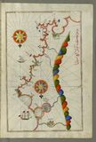 Illuminated Manuscript, Map of the coast of Andalusia from Valencia (Valense) to Cartagena (Qarte Cine) from B royalty free stock images