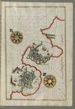 Illuminated Manuscript, Map of  the coastline between the cities of Koper (Capodistria, Dishtriye) and Muggia (Milj Stock Photos