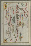 Illuminated Manuscript, Map of the coastline and the islands off Zadar (Zādare)(Croatia) from Book on Navigat Stock Photo