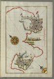 Illuminated Manuscript, Map of the coastline from Muggia (Milje, Mūye) to Trieste (Rishtī) (Italy) royalty free stock photo