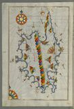 Illuminated manuscript Map of Corsica, from Book on Navigation, Walters Art Museum Ms. 658, fol. 229a Stock Photography