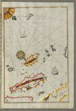 Illuminated Manuscript, Map of the Dalmatian Islands: Korčula (Qūrsūlah) and Lastovo (Augusta) off the coas Royalty Free Stock Photo