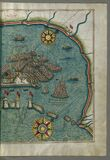 Illuminated Manuscript, Map of the eastern part of the city of Venice (Venedīk) from Book on Navigation, Walters Art Mu Royalty Free Stock Images
