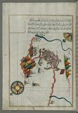 Illuminated manuscript Map of the Fortress of Ancona, from Book on navigation, Walters Art Museum ms. W.658, fol. 192a Royalty Free Stock Image