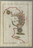 Illuminated Manuscript, Map of the fortress of Trieste (Rishtī) (Italy) from Book on Navigation, Walters Art  Royalty Free Stock Photo