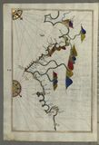 Illuminated Manuscript, Map of the French coast from the Italian border as far as Nice (Nīse) from Book on Navigation,  Stock Photo