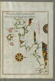 Illuminated Manuscript, Map of the French coast from Nice as far as Toulon from Book on Navigation, Walters Art Museum Ms. W.658,  Royalty Free Stock Image