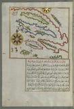 Illuminated Manuscript, Map of a group of islands north of Korčula (Qūrsūlah), probably Hvar and Brač (Croatia& Stock Photo