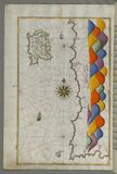 Illuminated Manuscript Map of The island of Bozjah (Tenedos) off the coast of Anatolia, from Book on Navigation, Walters Stock Image
