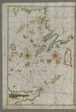 Illuminated Manuscript map of the islands of the Aegean Sea including Chios (Sakiz), Cos (Stancho, İstanköy) Stock Images