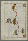 Illuminated Manuscript, Map of the Italian coast around around Peschici north of Mafredonia from Book on Navigation, Walters Art M Stock Images