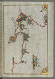 Illuminated Manuscript, Map of the Italian coast from Lecce (Laj) to Gallipoli (Kelibūlī) (towards the stock photography