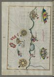 Illuminated Manuscript, Map of the Italian coast between Termoli and Peschici from Book on Navigation, Walters Art Museum Ms. W.65 Royalty Free Stock Images