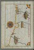 Illuminated Manuscript, Map of the Italian coastline with the cities of Ravenna (Ruvenne) and Cesena (Sazīne) Royalty Free Stock Images