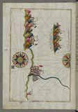 Illuminated Manuscript, Map of the Italian coastline from Rimini south towards Pesaro from Book on Navigation, Walters Art Museum  Stock Photography