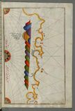 Illuminated Manuscript, Map of the Libyan coast towards to Egyptian border from Book on Navigation, Walters Art Museum Ms. W.658,  Stock Photography