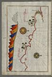 Illuminated Manuscript, Map of the Libyan coast from Tripoli (Ṭarābulus-i Maghrib)east towards Egypt from Book on Nav Stock Photography