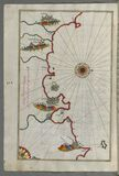 Illuminated Manuscript, Map of the Moroccan coast from the city of Tetouan (Titwān) west from Book on Navigation, Walte Royalty Free Stock Images