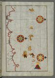 Illuminated Manuscript, Map of the northern coast of Sicily (here called the island of Messina, Mesīne) from Milazzo &# Stock Photo