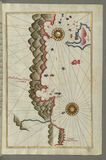 Illuminated Manuscript, Map of unidentified islands off the southern Anatolian coast  from Book on Navigation, Walters Art Museum  Stock Photo