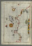Illuminated Manuscript, Map of the western Italian coast as far as the city of Pisa (Pīze) from Book on Navigation, Wal Royalty Free Stock Images
