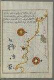 Illuminated Manuscript, Map of the western Italian coast as far as the city of Rome (Rūmah) from Book on Navigation, Wa Stock Images