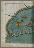 Illuminated Manuscript, Map of the western part of the city of Venice (Venedīk) from Book on Navigation, Walters Art Mu Stock Image
