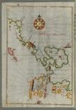 Illuminated Manuscript, The western coast of Greece from the island of Levcas (Lefkada, Leucas, Santa Maura) going north Royalty Free Stock Photos