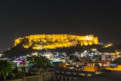 Illuminated Mehrangarh Fort in Jodhpur at night Stock Photo