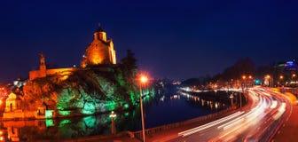 Illuminated Metekhi Church at night in Tbilisi Royalty Free Stock Image