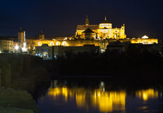 Illuminated Mezquita at night Stock Image