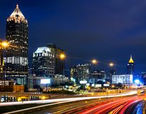 Illuminated Midtown in Atlanta, USA at night Stock Images