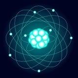 Illuminated model of an oxygen atom on a dark background. Vector Stock Image