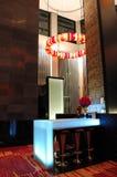 The Illuminated modern bar interior Royalty Free Stock Images