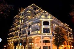 Illuminated modern building Royalty Free Stock Images