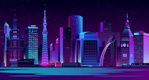 Illuminated modern city night landscape vector royalty free illustration
