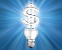 Illuminated Money Saving Energy Bulb Royalty Free Stock Photography